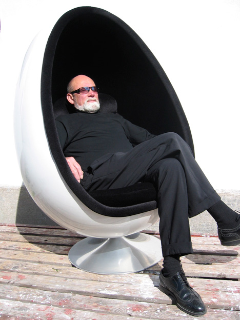 Henrik Thor-Larsen sat in his Ovalia Egg Chair
