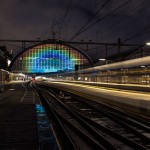 Daan Roosegaarde lights up Amsterdam station with rainbow projection