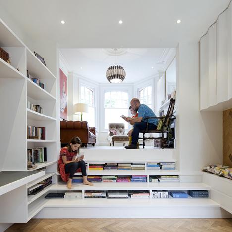 Zminkowska De Boise inserts combined bookshelf-staircase into London flat