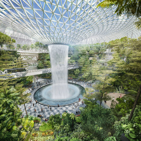 Moshe Safdie's huge greenhouse for Singapore's Changi airport gets underway