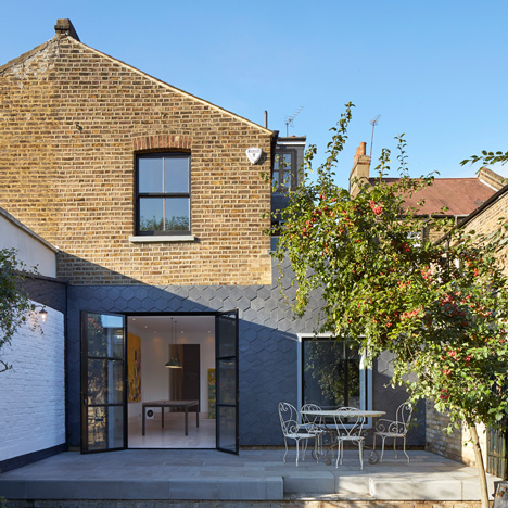 Gundry and Ducker's Slate House is an extension clad with hexagonal tiles