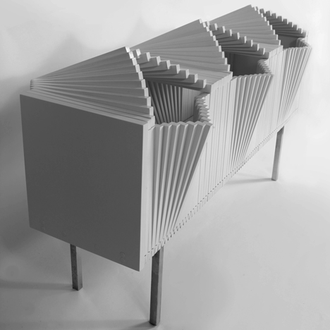 "Wave Cabinet by Sebastian Errazuriz opens ""like a paper fan"""