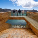 High-altitude viewpoint perches over a volcanic crater lake