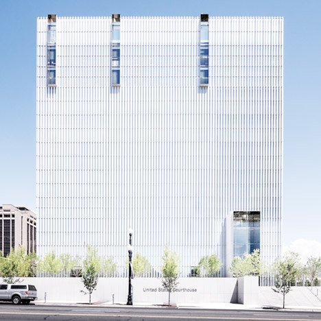 Thomas Phifer's United States Courthouse&ltbr /&gt is covered in vertical sun shades