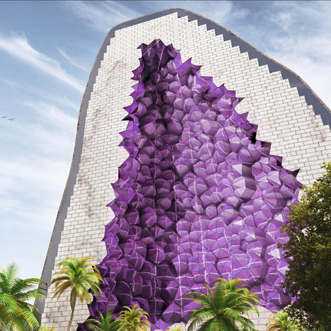 "NL Architects proposes ""slightly insane"" hotel modelled on amethyst crystals"