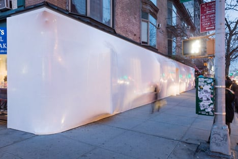 Blueprint white plastic installation at Storefront New York by SO-IL
