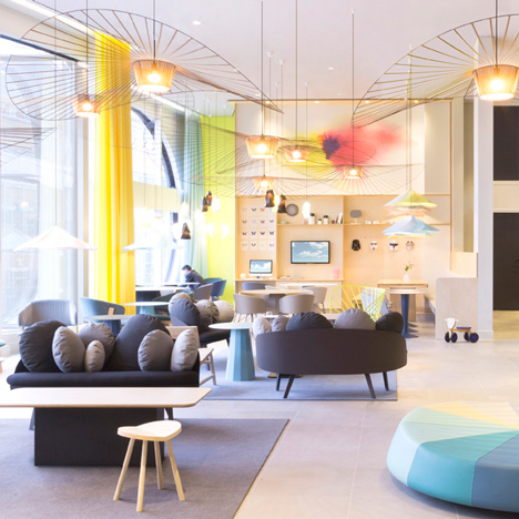 Constance Guisset's furniture and lighting populates Novotel hotel lobby