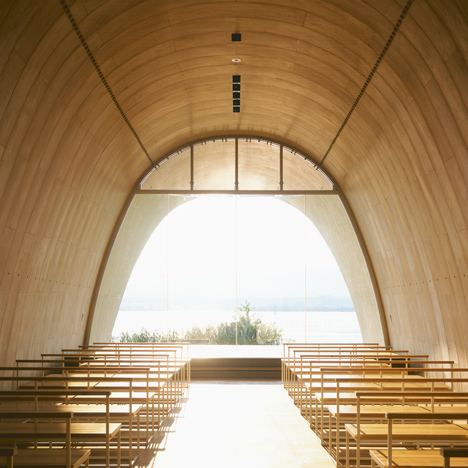 Lakeside hotel by Ryuichi Ashizawa adjoins a wedding chapel with a musical facade