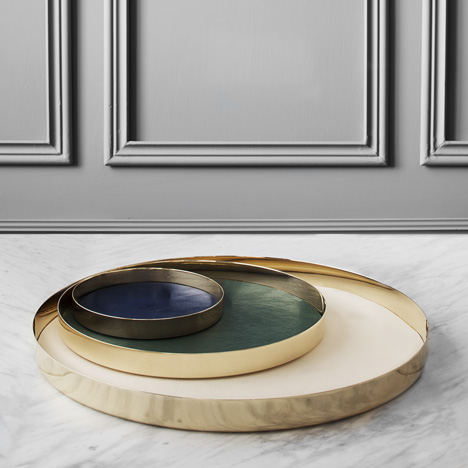 GamFratesi designs leather-lined<br /> brass trays for Skultuna