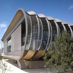 Laddered metal fins angle from the facade of Cambridgeshire laboratory by Abell Nepp