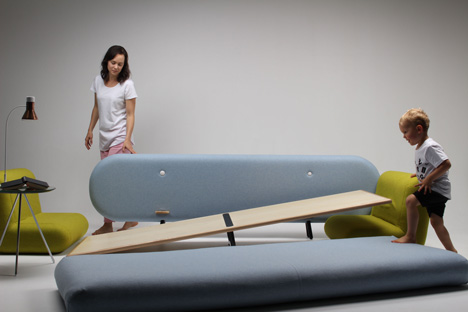 Couch transforms into an indoor playground