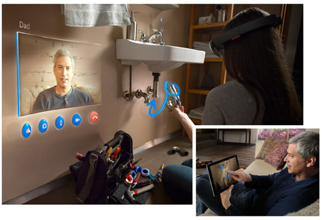 Gabungan alat dengar hologram definisi tinggi dengan dunia sebenar.