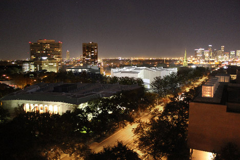 Aerial night view of the Fayez S. Sarofim Campus
