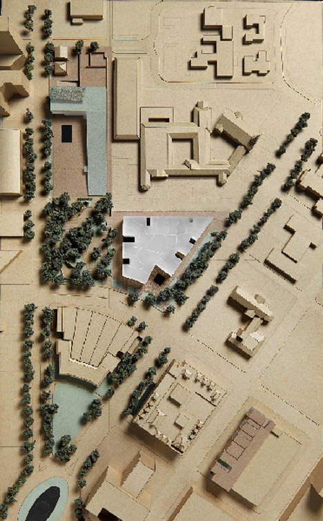 Aerial model view of the Fayez S. Sarofim Campus