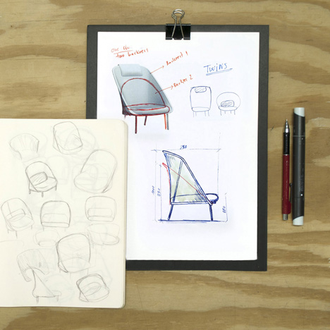 Concept sketches for the Twins chairs