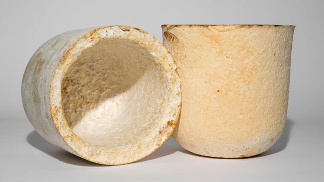 Vessels made out of mycelium by Officina Corpuscoli