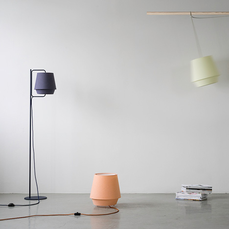 Note Design Studio encases Elements lights in soft-hued fabric shades