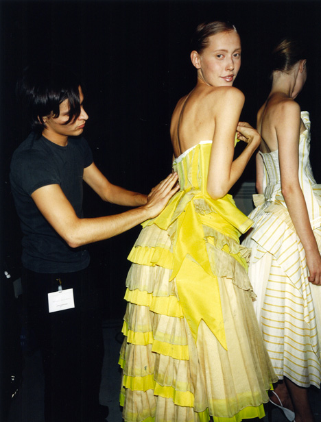 Olivier Theyskens Spring Summer 2002. Backstage photograph by Gauthier Gallet, 2001