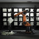 Robotic arms create custom furniture in Kram/Weisshaar's Robochop installation