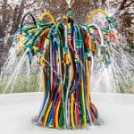 "Bertrand Lavier's ""unruly mass"" of hoses creates a fountain outside the Serpentine Sackler Gallery"