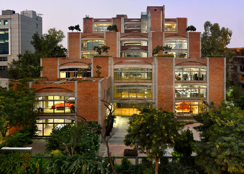 Indian office block by SPA Design features brick arches and stepped rooftop gardens