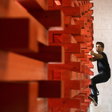 Visitors to Lisbon's Vertigo Climbing Center can clamber on the cafe