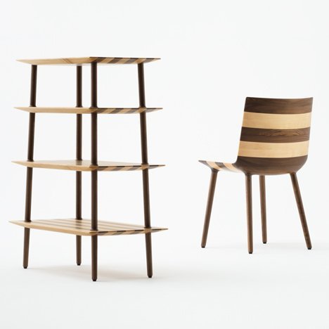 Claesson Koivisto Rune uses two types of wood to make stripy furniture