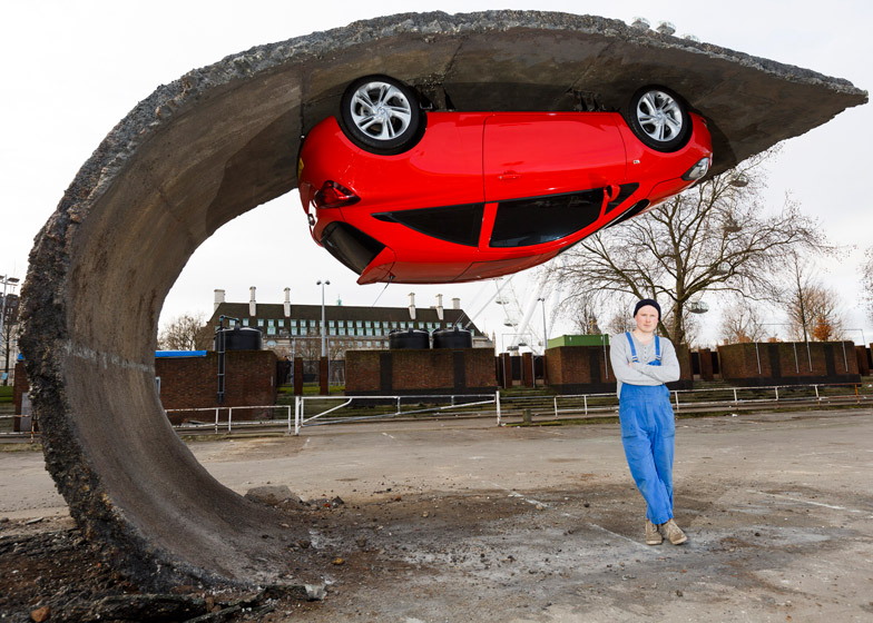 Alex Chinneck for Vauxhall Motors Pick yourself up and pull yourself