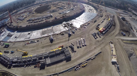 Drone movie shows progress on Apple Campus construction