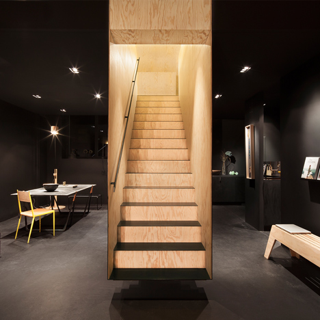 Box-like staircase forms a centrepiece inside Bazar Noir concept store