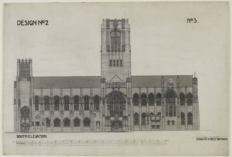 Liverpool Cathedral competition design by Charles Rennie Mackintosh