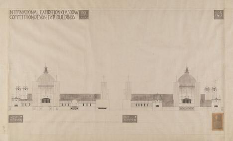 Glasgow International Exhibition competition design by Charles Rennie Mackintosh
