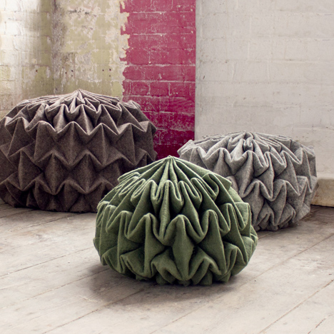 Jule Waibel's pine cone-shaped seats&ltbr /&gt are made by steam-folding wool felt