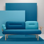 Wooden tray replaces one arm of LaSelva's Cosmo sofa