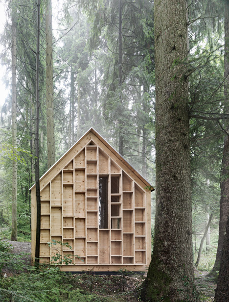 Bernd Riegger's see-through Forest Refuge cabin provides shelter for a woodland kindergarten