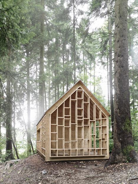 Bernd Riegger's see-through Forest Refuge cabin provides shelter for a woodland kindergarten