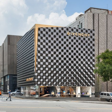 Givenchy store in Seoul has an undulating moulded-metal facade
