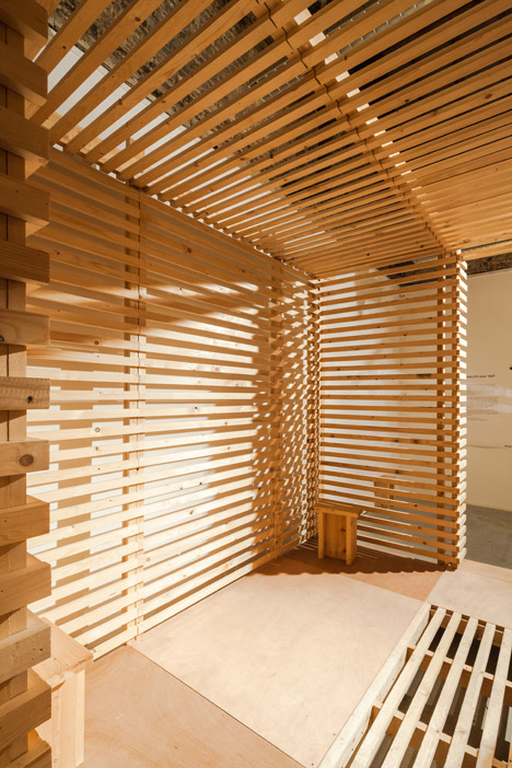 Taat creates slatted wooden set for an interactive theatre for Horemans interieur