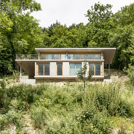 Gian Salis' House on a Slope steps<br /> down a hillside in the Rhine Valley