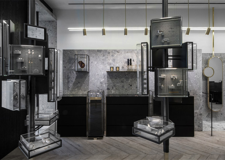 "Kois Associated Architects furnishes Athens jewellery shop with metal ""forest"" and smoke"
