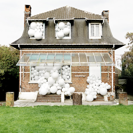 Balloon-loving artist Charles Pétillon also stuffed the white globes into houses, cars and sports facilities in this series of installations.