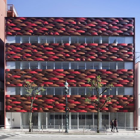 Aisaka Architects adds red basket-weave facade to Tokyo office block