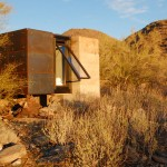 Desert hideaway built among the ruins of an old miner's shelter in Arizona