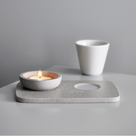 Monica Förster creates outdoor candle holders from synthetic stone slabs