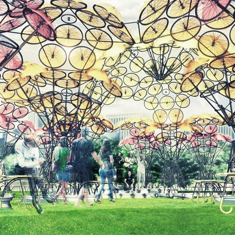 Summer pavilions built from old rope and bicycle wheels to open in New York