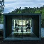 Riverside concrete pavilion in Norway pays tribute to a paper press