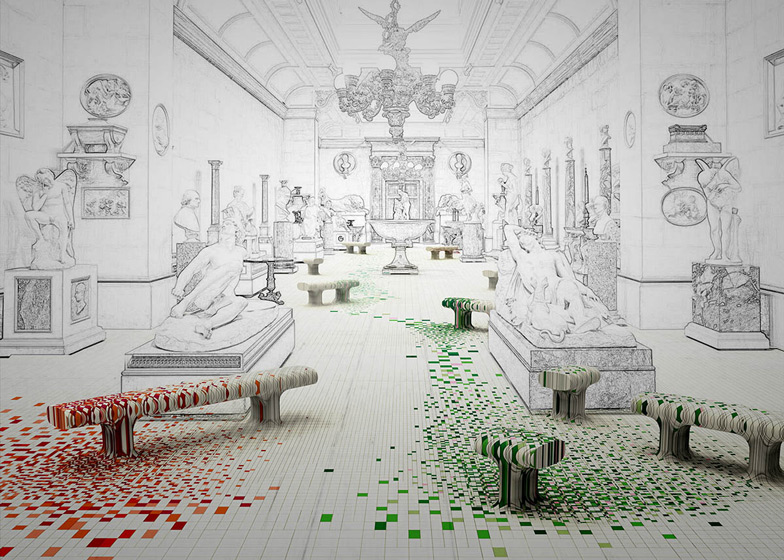 Raw Edges to fill stately home gallery with colourful wood patterns