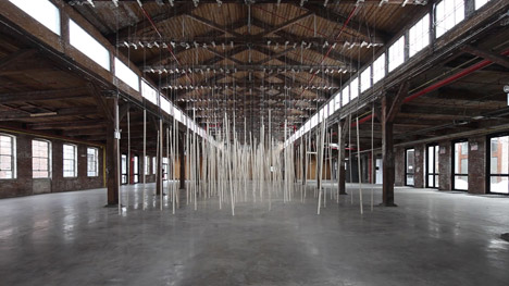 Studio Zimoun installation at Knockdown Center NYC