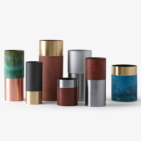 Lex Pott's True Colours vases contrast oxidised and polished finishes