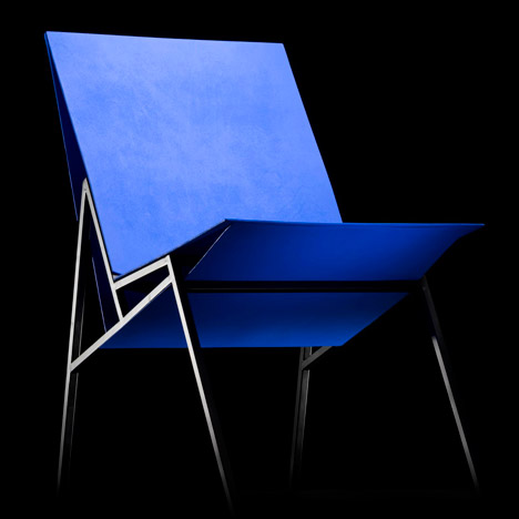 Aalto University students design chairs from bright blue plywood